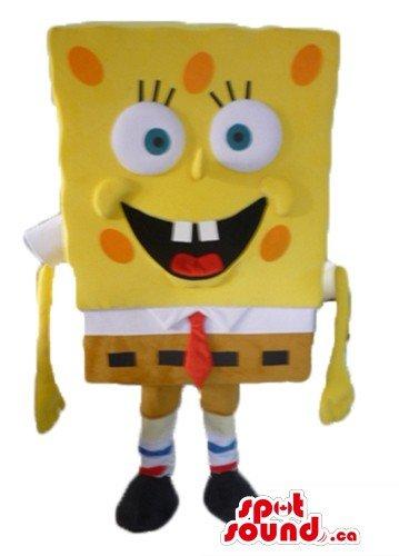 黄色のスポンジの漫画のキャラクターをマスコットカナダ衣装仮装をSpotSound
