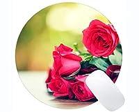 ゲーミングマウスマット、赤いバラのバラの花 - ステッチエッジ
