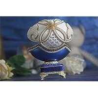 青い花 女の子のためのオルゴールイースターエッグ卵殻オルゴール Jewerlyボックス青い花 女の子のためのオルゴールイースターエッグ卵殻オルゴール Jewerlyボックス
