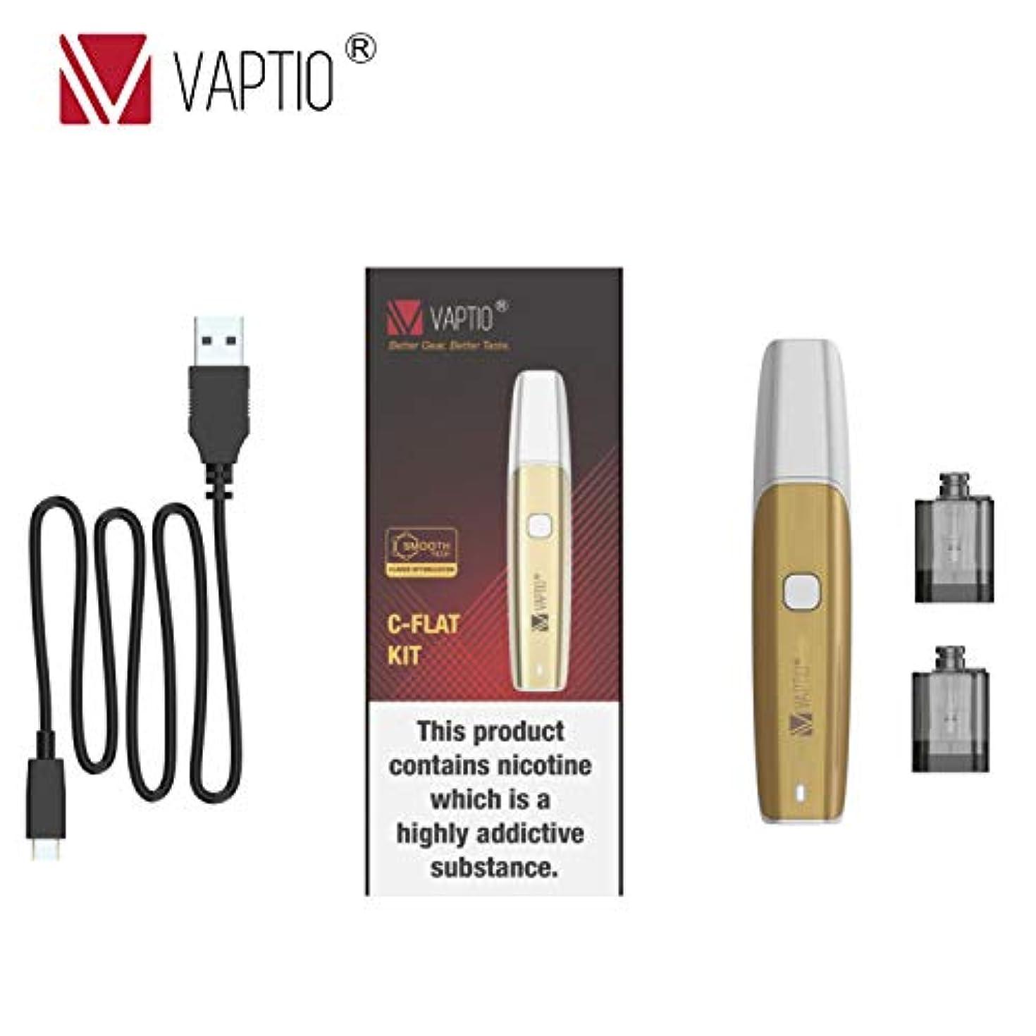 女優質素な彼らは電子タバコ pod kit Vaptio C Flat 電子タバコスターターキット 350mAh 15w 禁煙サポート急速充電 高性能 超小型Pod 初心者 携帯便利(白と金)