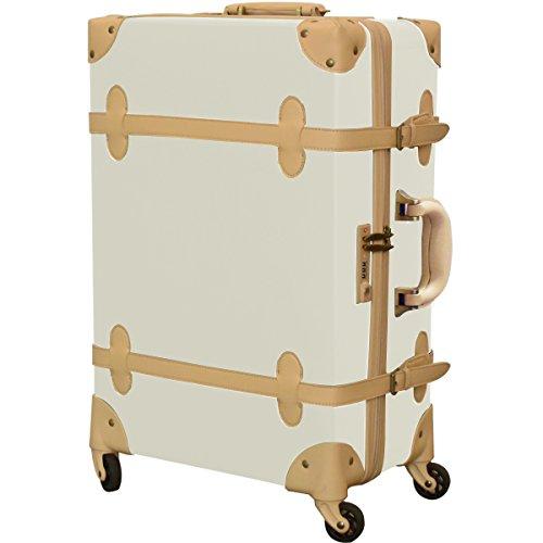 FIELDOOR ヴィンテージ風 トラベルキャリーケース スーツケース Mサイズ (アイボリー) 【ファスナータイプ】