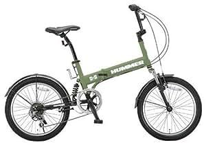 HUMMER(ハマー) 折りたたみ自転車  20インチ FDB206 シマノ6段変速  [Wサスペンション/前後フェンダー/Vブレーキ/ボトルゲージ/リフレクター標準装備]  マットグリーン