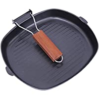 RaiFu グリルパン ステーキ スクエア 折りたたみ ハンドル 非粘着 フライパン ポータブル 料理 キチン ツール 料理具 20CM 24CM