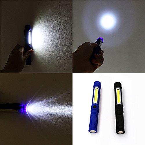 [해외]ixaer COB LED 손전등 펜 라이트 형 300 루멘 자석 클립 자석 휴대용 작업 라이트 검사 작업에 편리 두 개 세트 들어 (블랙 | 블루)/ixaer COB LED flashlight pen light type 300 lumens magnet clip magnet attachment portable working light Con...