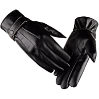 Tinksky Winter Warm Gloves Men's Touch Screen Texting Leather Outdoor Driving Cycling Thick Lining Gloves Blend Cuff Christmas Birthday Gift for men 1 Pair