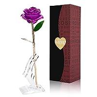 24Kゴールド ローズフラワー 人工ローズ ギフトボックスと透明スタンド付き バレンタイン、母の日、記念日、誕生日、姉妹へのギフトに 永遠のデコレーションに パープル
