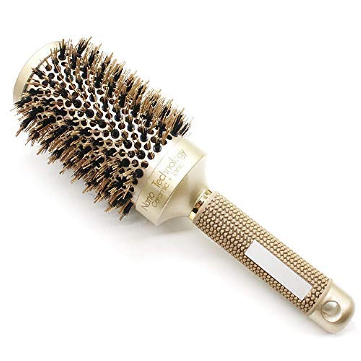 速い脊椎浸透するBeautyMore Nano Thermal Ceramic & Ionic Round Barrel Anti-Static Hair Brush with Boar Bristle, for Hair Drying...