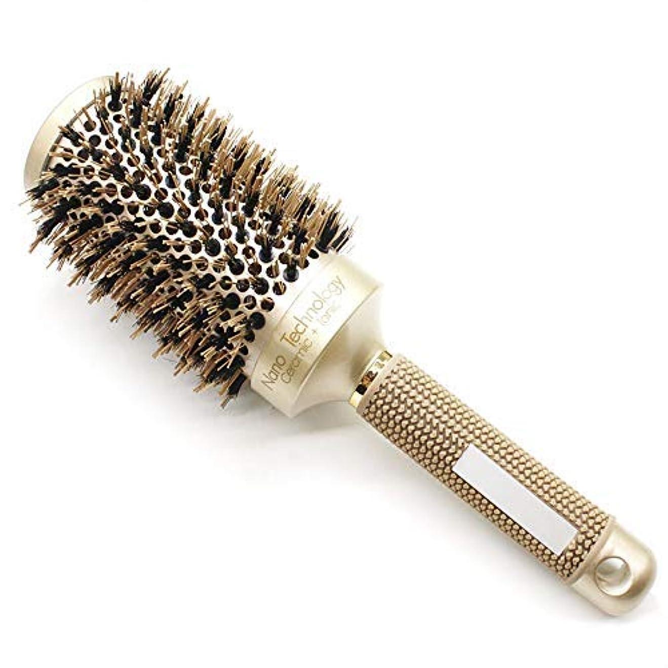 嘆く出発する置換BeautyMore Nano Thermal Ceramic & Ionic Round Barrel Anti-Static Hair Brush with Boar Bristle, for Hair Drying...