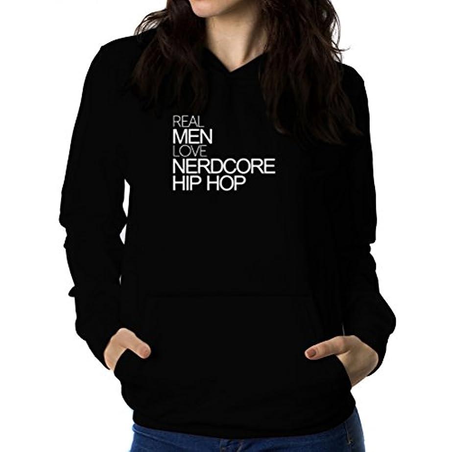 ホステスペースト皮肉Real men love Nerdcore Hip Hop 女性 フーディー