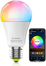 HaoDeng WiFi LED Light, Smart Bulb -Timer& Sunrise& Sunset- Dimmable, Multicolor, Warm White (Color Ch