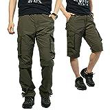 カーゴパンツ メンズ 2WAY 作業ズボン 薄手 夏 ハーフパンツ アウトドア ワークパンツ ロングパンツ ゆったり 大きいサイズ グリーン-005 XXL