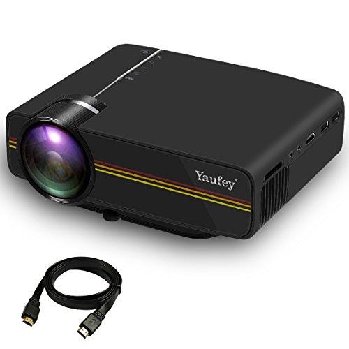 yaufey 小型LEDプロジェクター1500lm 1080P USB/SDカード対応 iphone/パソコン/ゲーム機など接続可 黒い
