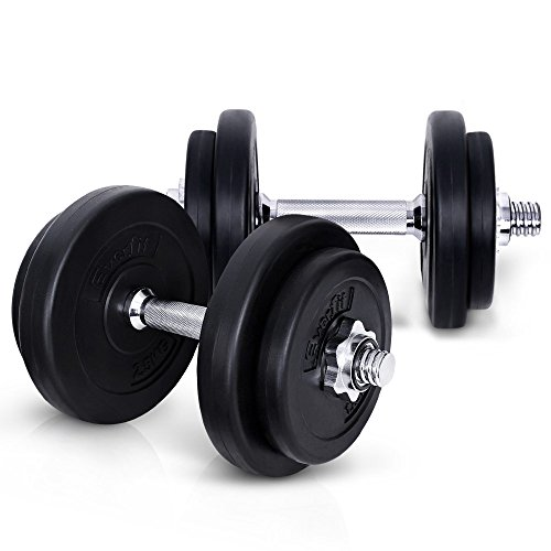 20KG Dumbbell Set Bumbbells Weights Plates Adjustable Home Gym Fitness Exercise Workout Training Bar Hand Rack Bench Press Squat Standard Everfit