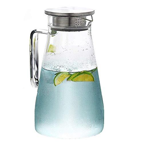 EVIICC ガラスポット 1.5リットル 耐熱 直火可 冷蔵庫 水出し 茶ポット ガラスピッチャー ステンレス茶こし付きジャグ