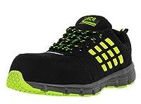 作業安全トレーナー - 通気性軽量複合トウキャップ作業靴 - S1P - レース - グリーン - ブラック、サイズ10