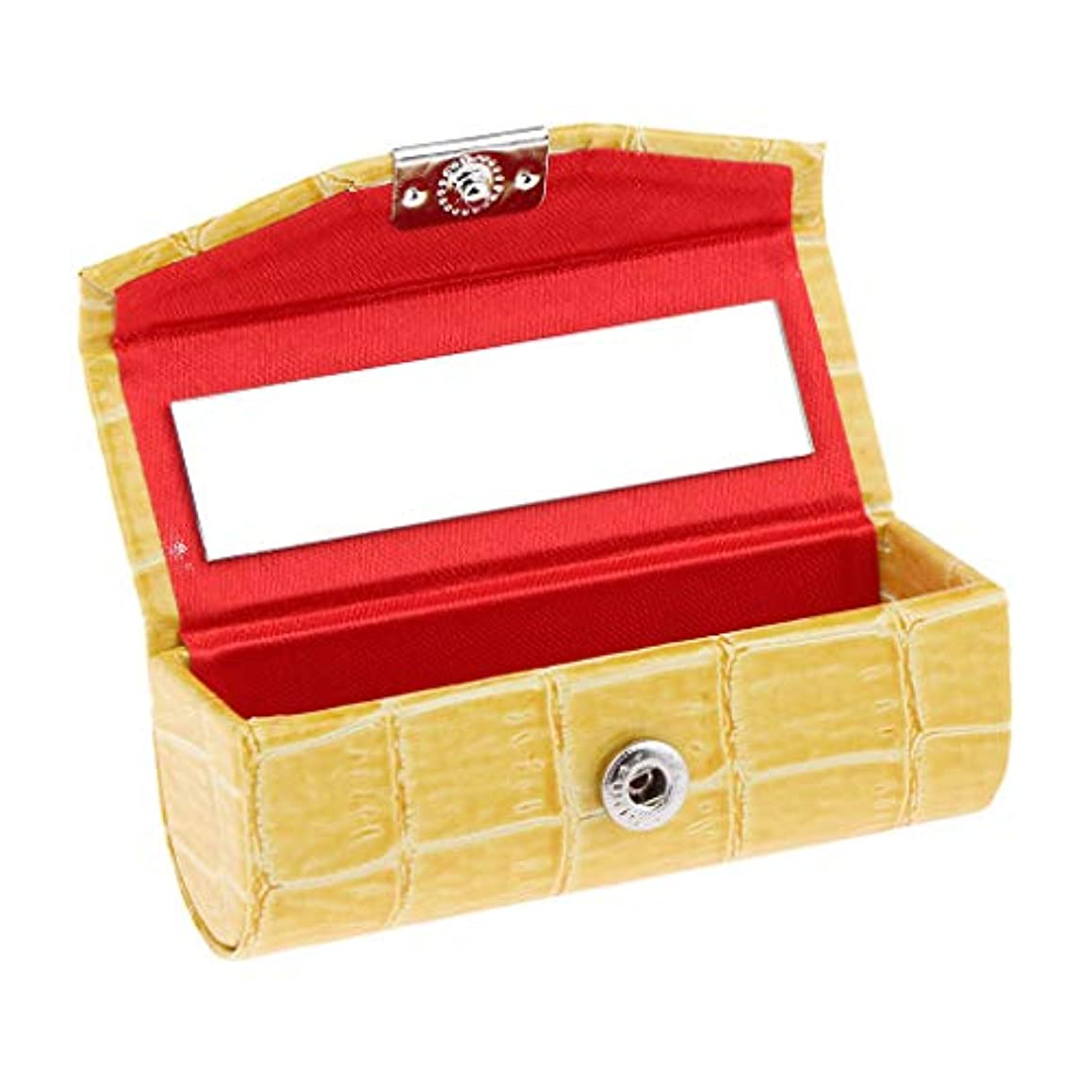 才能プランター小説IPOTCH レザー リップスティックケース 口紅ホルダー ミラー 収納ボックス 多色選べ - 黄