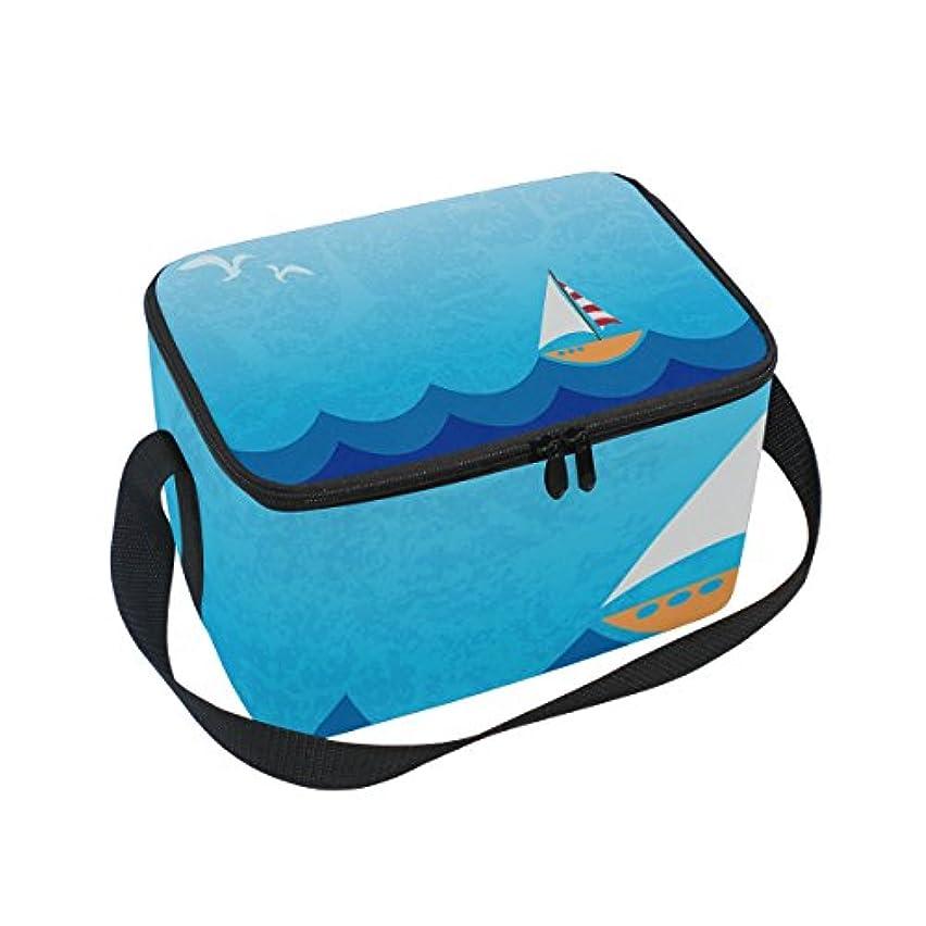 活性化南東偶然のクーラーバッグ クーラーボックス ソフトクーラ 冷蔵ボックス キャンプ用品 海 船とカモメ 保冷保温 大容量 肩掛け お花見 アウトドア