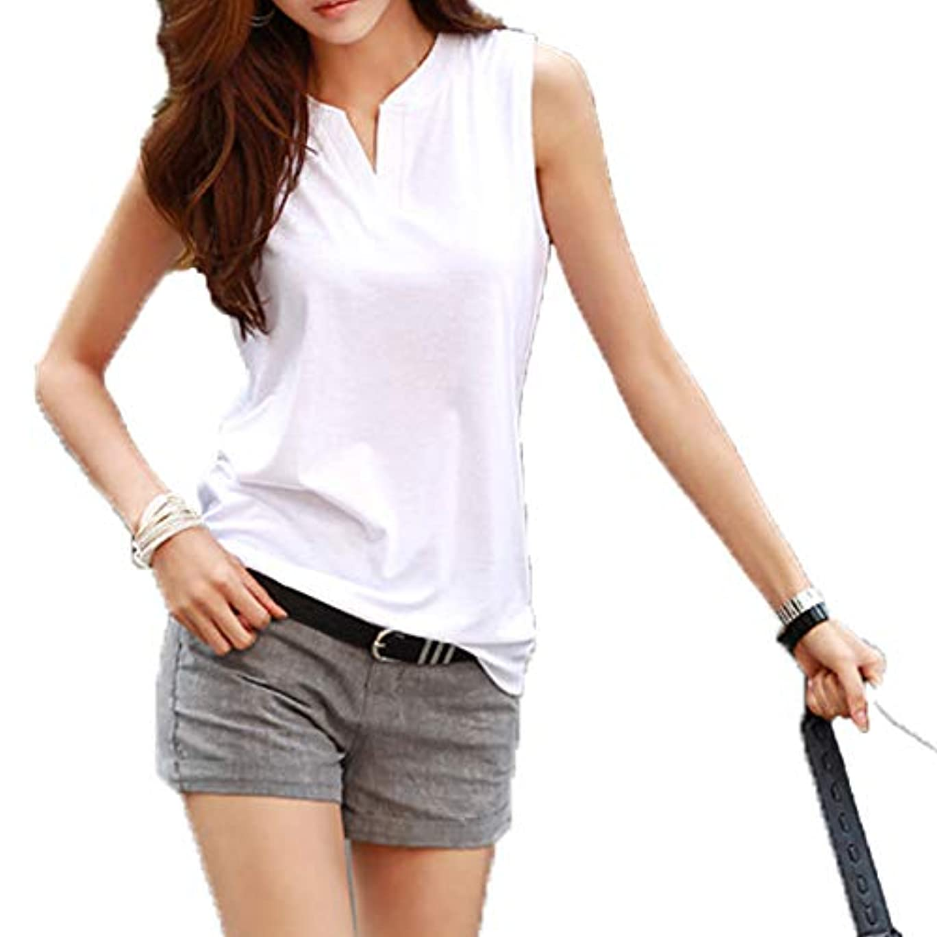 でも愚か大胆不敵[ココチエ] Tシャツ プルオーバー レディース ブラウス ノースリーブ 半袖 V コットン 白 かっこいい かわいい おしゃれ