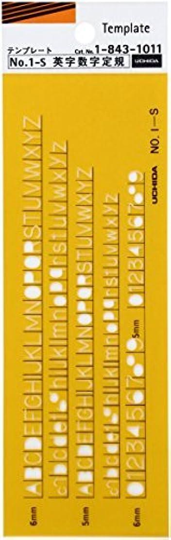 遺産窒素相続人内田洋行 テンプレート No.1-S 英字数字定規 1-843-1011 00958658【まとめ買い3枚セット】