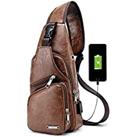 Men's Sling Bag, Business Leather Shoulder Backpacks Campus Travel Crossbody Bag with USB Charging Port