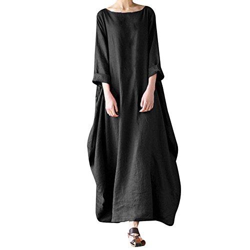 MyMei ワンピース ドレス スカート 体型カバー レディースウェア カジュアル 春夏ウェア 亜麻 無地 大きいサイズ ゆったり(5XL,ブラック)