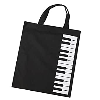 Baosity ミュージカル ハンドバッグ トートバッグ ショッピングバッグ 音楽愛好者 ギフト 全2色 - 黒