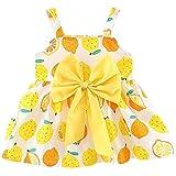 QIAONAI ベビーワンピース 女の子 ドレス ベビー服 子供服 レモン柄 大きなリボン つり帯 可愛い ベビー服 子供服 夏服 (80cm, イエロー)