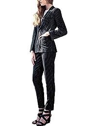 レディース スーツ 2点セット!ストライプ ジャケット パンツ ビジネス 通勤 スーツ大きいサイズ