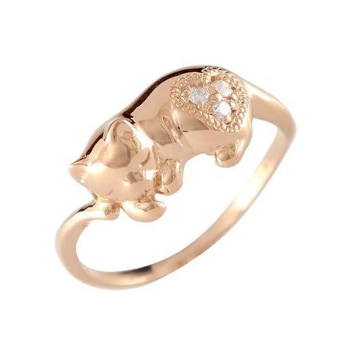[アトラス] Atrus ネコ の ピンキーリング ダイヤモンド ミル打ち ハート ダイヤ ピンクゴールドK18 K18PG 18金 指輪 14号 うたた寝する愛らしい猫の ダイヤモンドリング ファッションリング