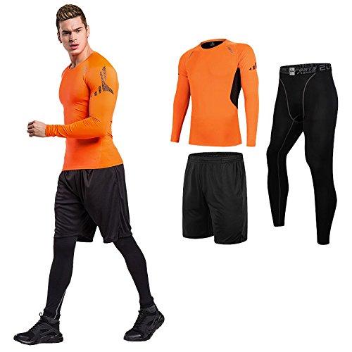 Sillictor スポーツウェア 3点 セット 長袖 コンプレッションウェア + ロング コンプレッションタイツ + ショート パンツ メンズ [UVカット + 吸汗速乾] 3229オレンジ/ブラック
