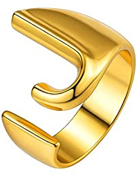 Letter Rings for Women Men Unisex Jewelry 18K Gold Plated Statement A-Z Wide Name Initial Alphabet Ring Adjustable