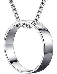 Meixao シンプル ネックレス 売れ筋 人気 かわいい ペンダント レディース スターリング シルバー925 シャイニー サークル 誕生日 記念日 プレゼント (ホワイト)
