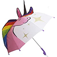 Yolmina Unicorn Umbrella for Kids, Cute Pop up Stick Umbrella for Girls and Boys with Safety Open and Close Age 3-7