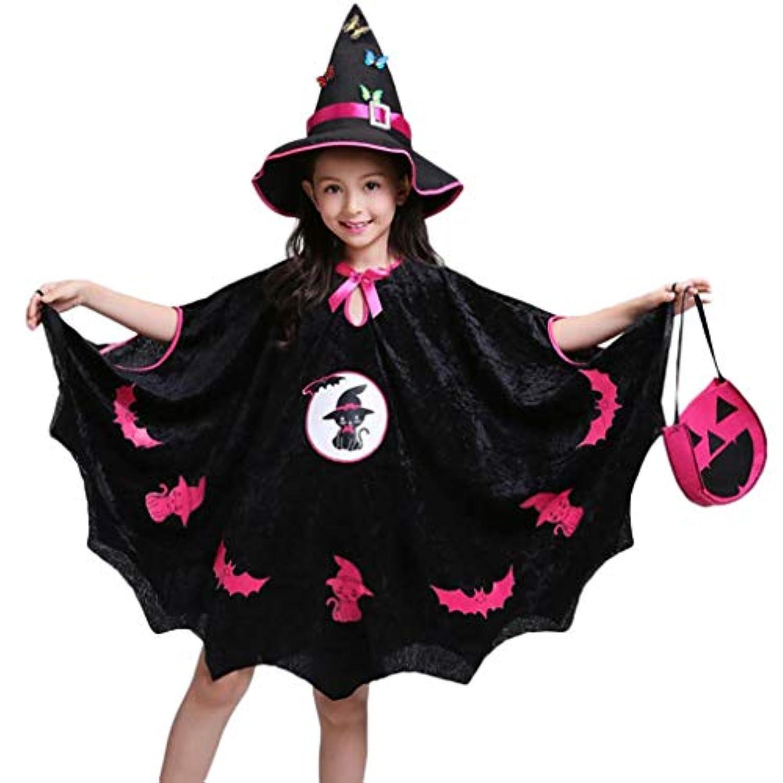 ハロウィーン クローク 子供、三番目の店 キッズ ベビー ガールズ ハロウィンコスチュームドレス パーティークローク+ハットアウトフィット+パンプキンバッグ