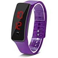 VGEBY Sports Digital Watch, Silicone Jelly LED Electronic Wrist Watch Bracelet for Men Women(Purple)