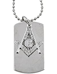 Masonic ExchangeシルバーGラインストーン犬タグペンダントネックレスfor the Freemason