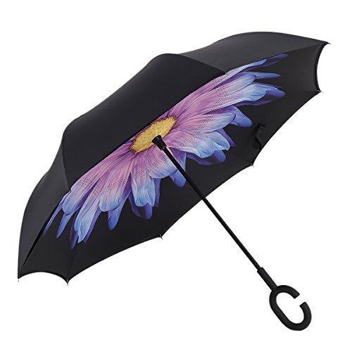 Everestor 長傘 逆さ傘 逆折り式傘 手離れC型手元 ビジネス用車用 UVカット 撥水加工 晴雨兼用 (瑠璃)