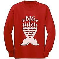 Mermaid Big Sister Shirt Toddler Girls Sibling Toddler Kids Long Sleeve T-Shirt