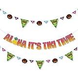Big Dot of Happiness Tiki Luau - トロピカルハワイアンサマーパーティーレターバナーデコレーション - 36バナーカットアウトとAloha It's Tiki Time バナーレター