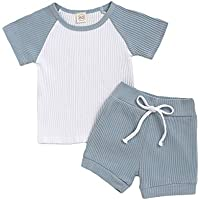 GRNSHTS Baby Boy Girl Outfit Kids Boy Knitted Short Sleeve Top with Shorts 2 Pieces Clothes Set