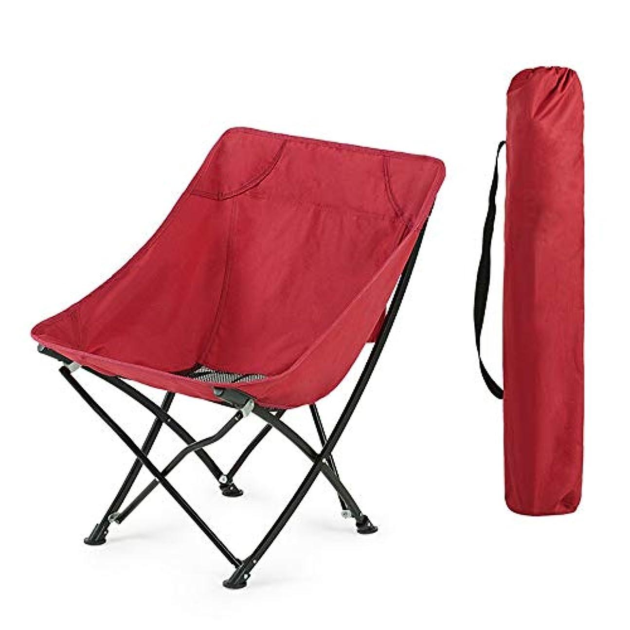 基準二層犯すキャンプチェア 携帯用屋外の折りたたみ椅子釣浜の祭りの庭またはあらゆる野外活動のためのキャリーバッグが付いているキャンプの椅子 ビーチトラベルピクニックフェスティバル (色 : Red, Size : 37x45x70cm)