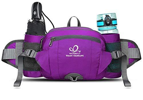 WATERFLY(ウォーターフライ) ウエストバッグ ショルダー付き 水筒入れ 多機能 軽量 大容量 メンズ レディース (紫)