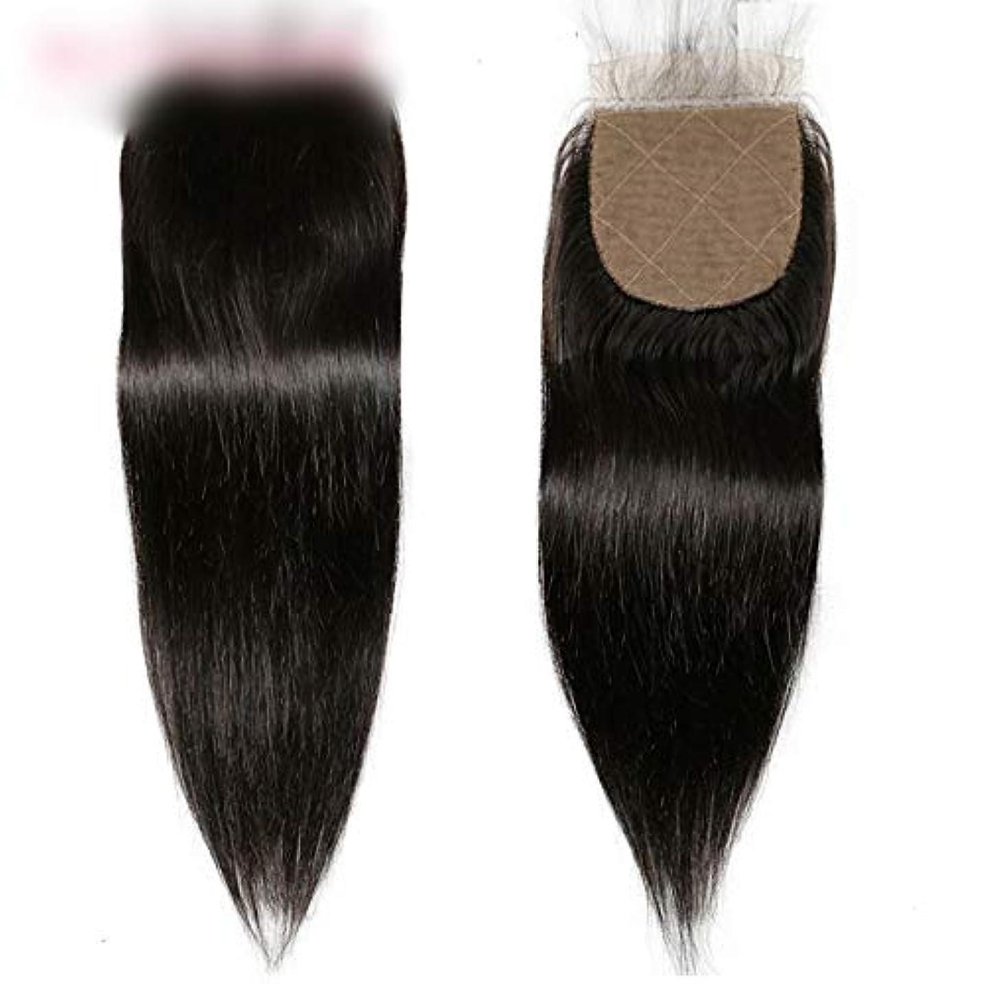 ヒステリック牧草地紳士気取りの、きざなHOHYLLYA ブラジルのストレートの髪の束と閉鎖未処理の人間の髪の毛のレースの閉鎖ナチュラルカラーの髪の合成毛髪のレースのかつらロールプレイングウィッグロングとショートの女性自然 (色 : 黒, サイズ : 20 inch)