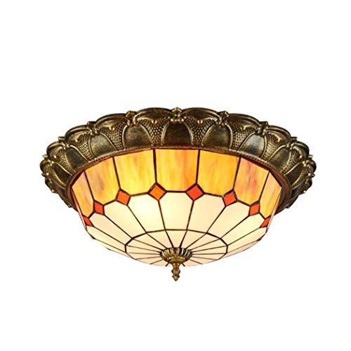 LED天井灯、ティファニースタイルのラウンドステンドグラスの...