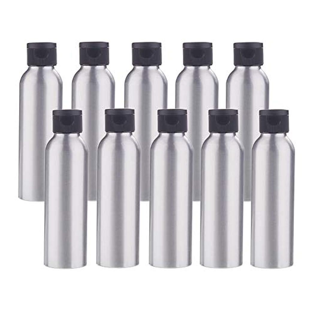 貝殻樫の木高潔なBENECREAT 10個セット120mlアルミボトル フリップカバー空瓶 防錆 遮光 軽量 化粧品 シャンプー 小分け 詰め替え 黒いプラスチック蓋