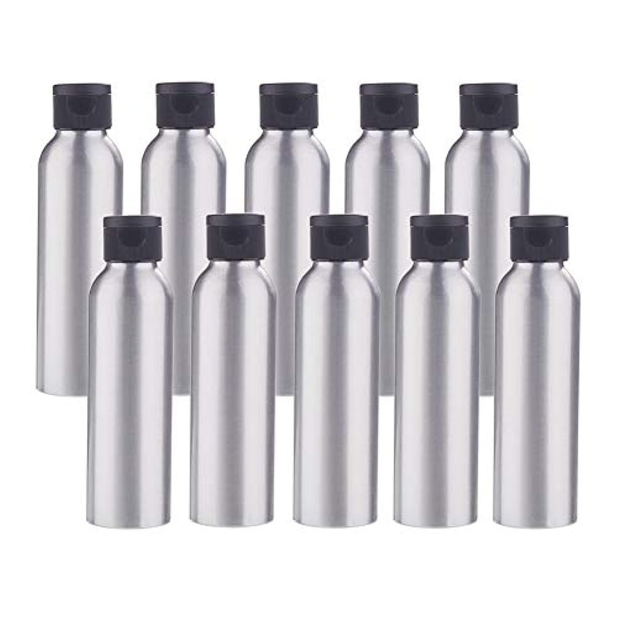 キノコにやにやすべきBENECREAT 10個セット120mlアルミボトル フリップカバー空瓶 防錆 遮光 軽量 化粧品 シャンプー 小分け 詰め替え 黒いプラスチック蓋
