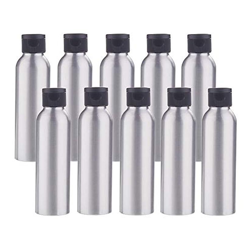 意気込みブレス散文BENECREAT 10個セット120mlアルミボトル フリップカバー空瓶 防錆 遮光 軽量 化粧品 シャンプー 小分け 詰め替え 黒いプラスチック蓋