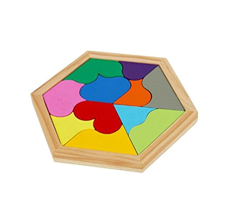 WISDOMTOY 11ピースカラフルな木製Brain Teaser Hearts Tangram JigsawロックパズルボードゲームEducational Toy for Kids