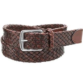 William Leather Braided Belt: Brown
