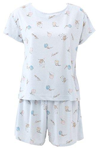 (チュチュアンナ) tutuanna パイルアイス柄半袖フレアパンツパジャマM-L サックス